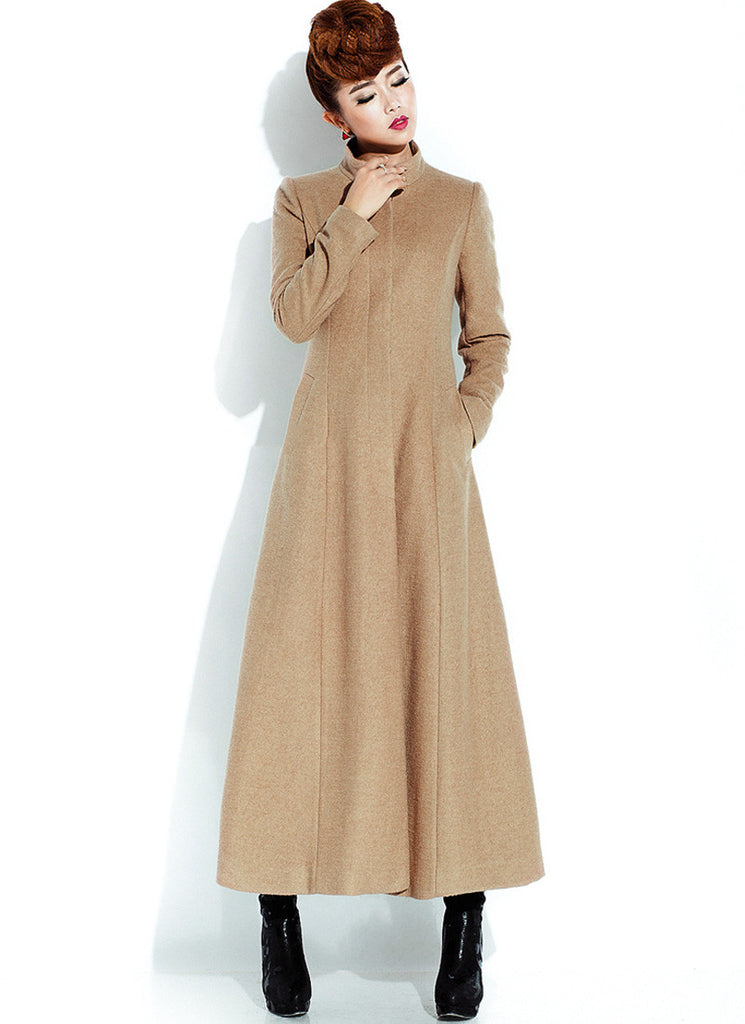 Long Burly Wood Cashmere Wool Coat with Stand Collar