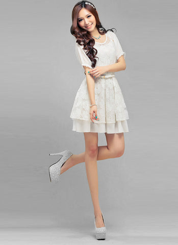 Embroidered White Lace Mini Dress with Free Slip R1