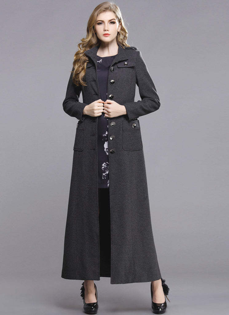 Dark Gray Cashmere Wool Coat with Metal Buttons