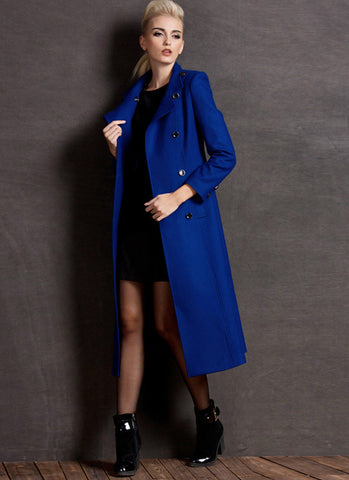 Dark Royal Blue Cashmere Wool Coat with Stand Collar RB73