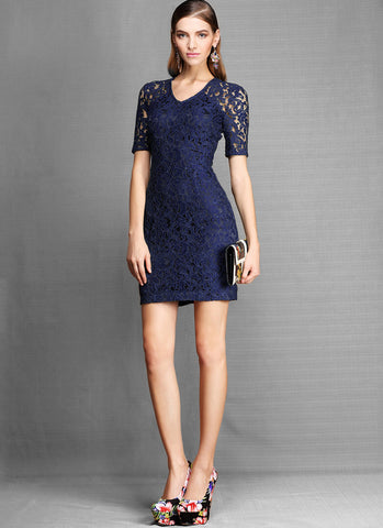 Dark Blue Lace Sheath Dress with Metal Zipper R14