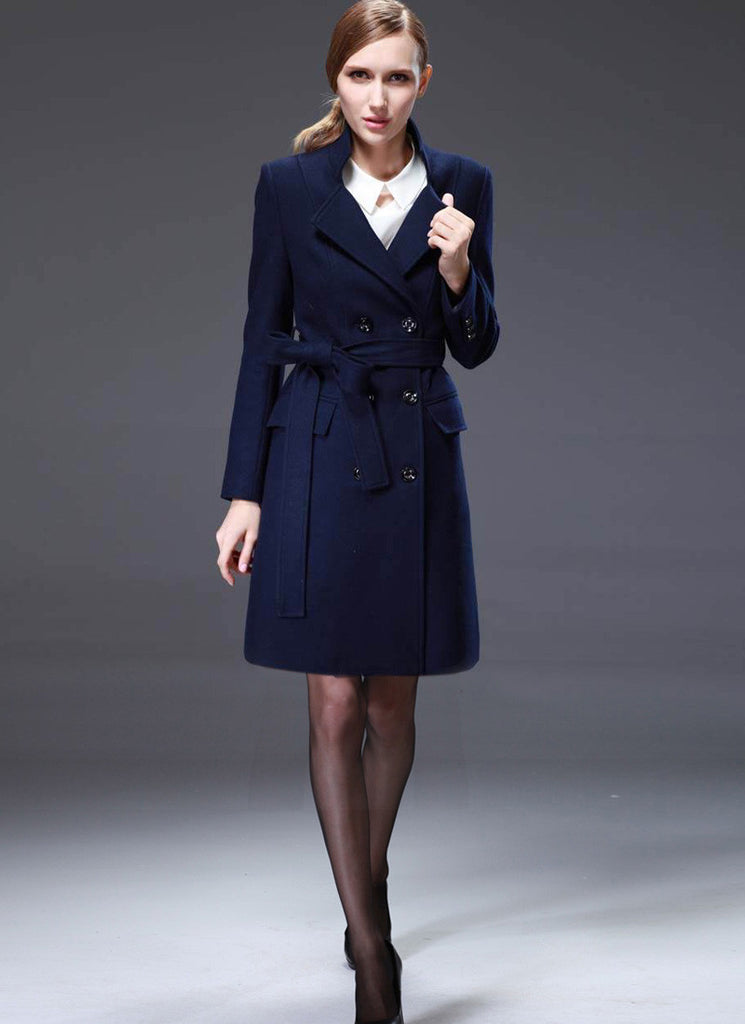 Double Breasted Short Navy Cashmere Wool Coat