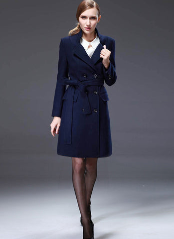 Double Breasted Short Navy Cashmere Wool Coat RB66