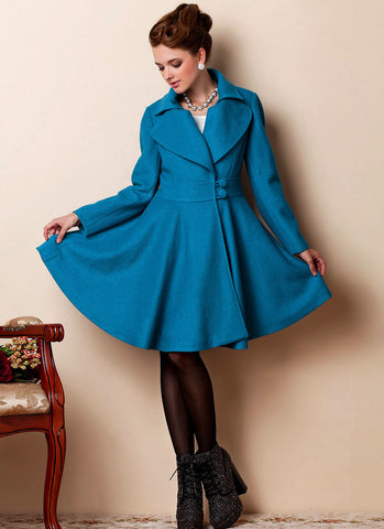 Fit and Flare Royal Blue Cashmere Wool Coat RB28