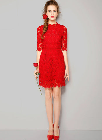 Half Sleeve Red Rose Lace Sheath Dress with Floral Hem - RD235