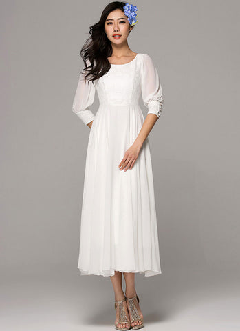 Half Sleeve White Maxi Dress with Lace Details on the Front Bodice and Cuff RM295