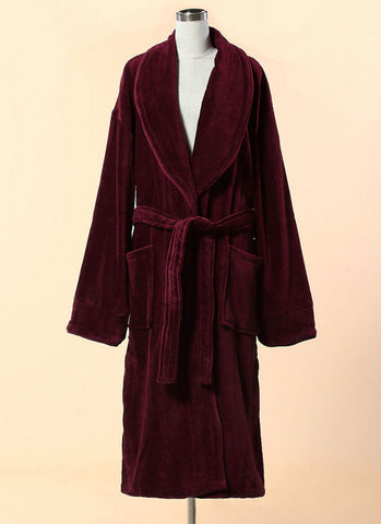 Extra Thick Maroon Velour Bathrobe - Shawl Collar Cotton Bathrobe with Piping