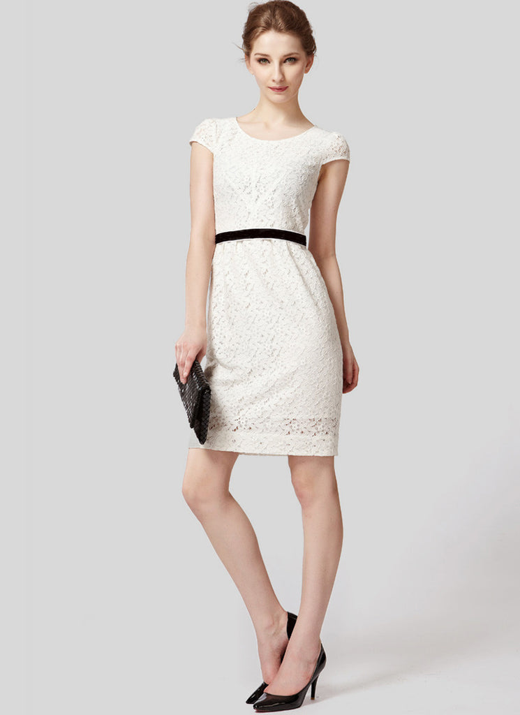 White Lace Sheath Mini Dress with Black Waist Band