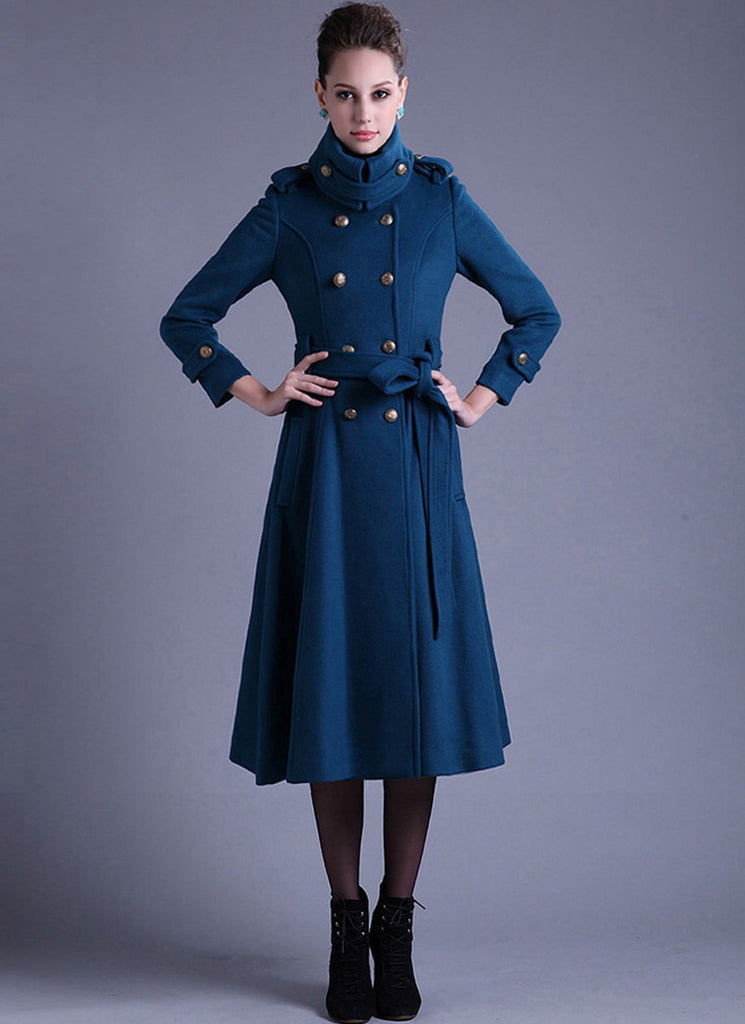 Royal Blue Cashmere Wool Coat with Stand Collar