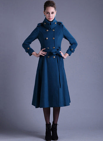 Royal Blue Cashmere Wool Coat with Stand Collar RB17
