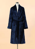 Extra Thick Micro Fiber Bathrobe - Soft Blue Fleece Bathrobe w. Shawl Collar