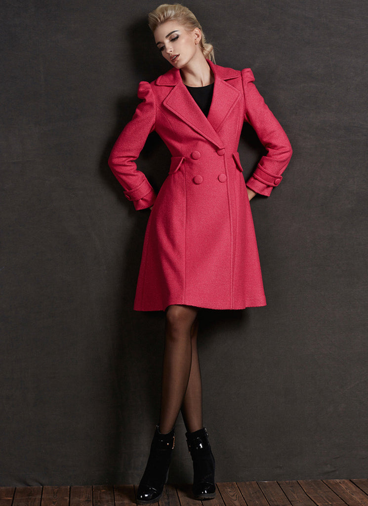 Deep Pink Cashmere Wool Coat with Puff Sleeves
