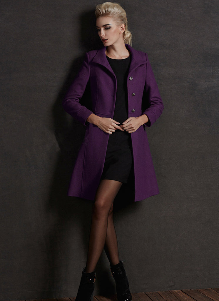 Short Purple Cashmere Wool Coat