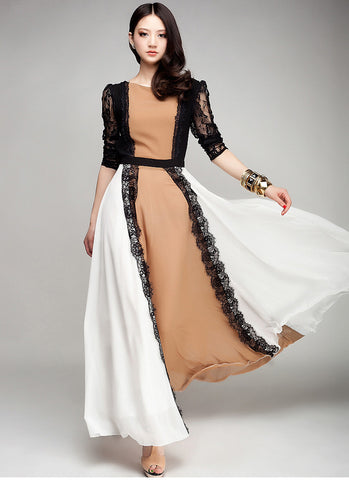 Brown Maxi Dress with Black Lace Details & White Skirt RM164