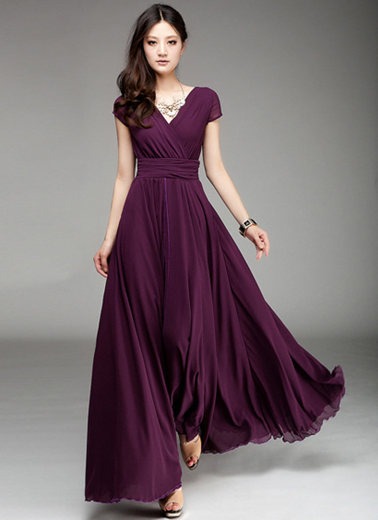 Cap Sleeve Purple Maxi Dress with V Neck & Ruched Waist Yoke