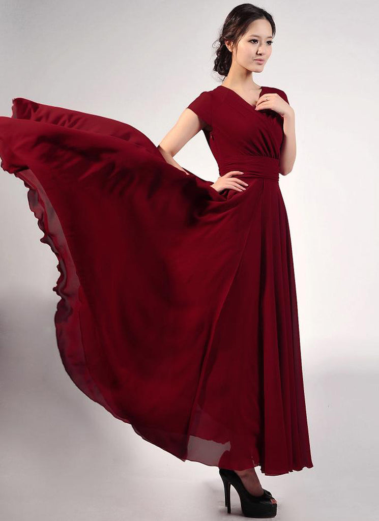 f488838885 Cap Sleeve Maroon Maxi Dress with V Neck & Ruched Waist Yoke RM157 ...