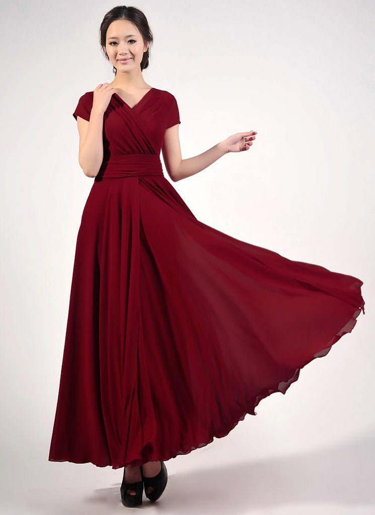 Cap Sleeve Maroon Maxi Dress with V Neck & Ruched Waist Yoke