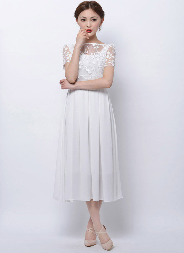 f1b184cee352 White Embroidered Floral Lace Chiffon Midi Dress RM75 – RobePlus