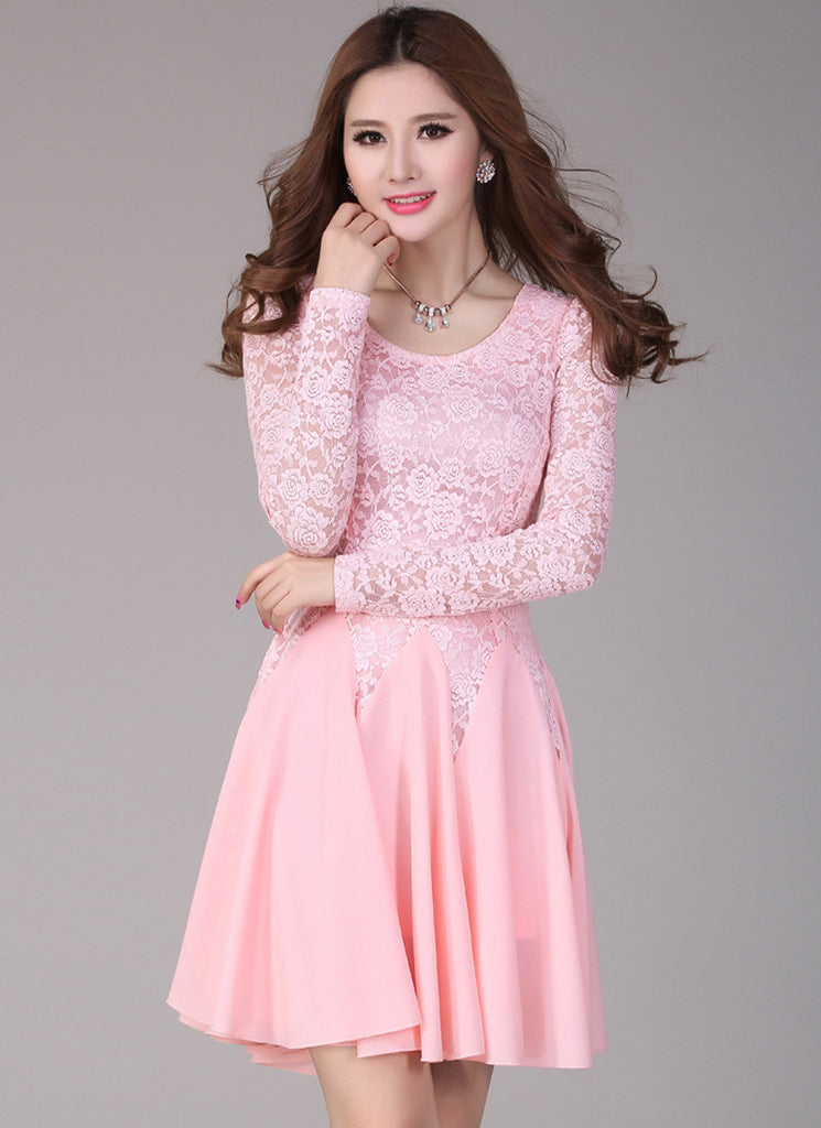 Pink Lace Fit and Flare Mini Dress with Long Sleeves R4 1124b7680
