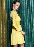 Yellow Mini Dress with Lace Waist Yoke and Sleeves