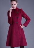 Single Breasted Deep Pink Cashmere Wool Coat with Puff Sleeves