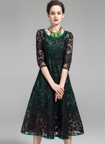 Black Embroidered Organza Lace Midi Dress With Green