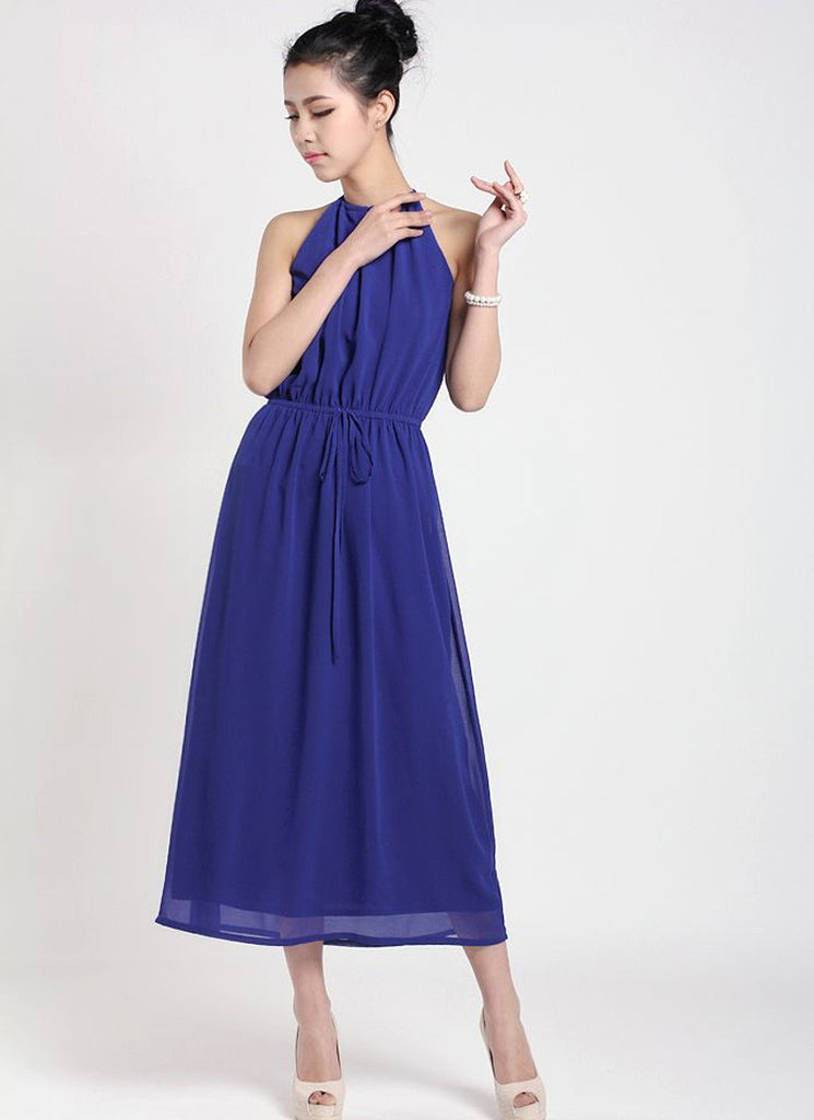 Blue Halter Tea Dress with Draw String Waist