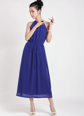 Blue Halter Tea Dress with Draw String Waist RM37