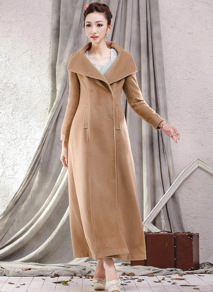 Peru Color Cashmere Wool Coat with Extra Large Lapel