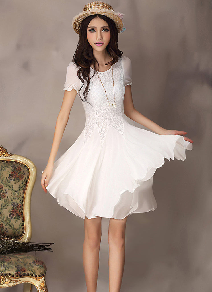 White Lace Fit And Flare Mini Dress With Short Puff