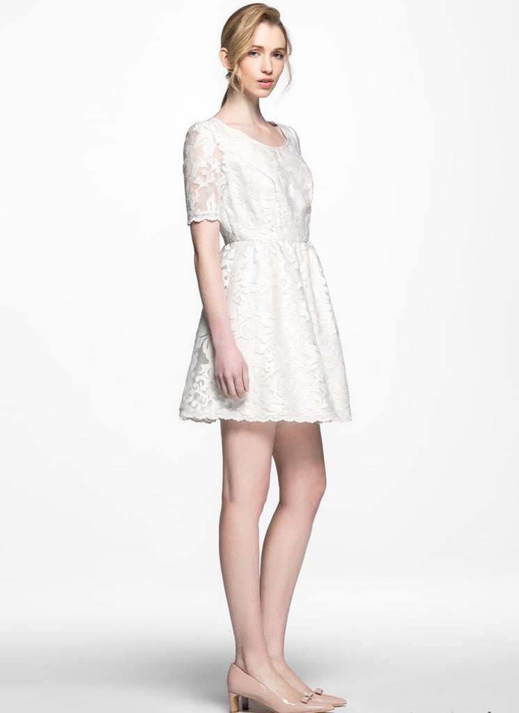 Off White Abstract Floral Embroider Lace Aline Dress