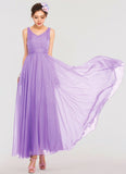 Medium Orchid Maxi Dress with V Neck V Back and Ruched Waist Yoke