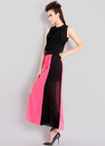 Black & Fuchsia Maxi Dress with Open Back & Front Slit