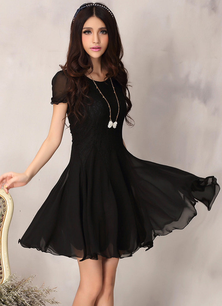 Black Lace Fit And Flare Mini Dress With Short Puff Sleeves R2