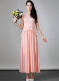 Rosy Pink Lace Chiffon Peplum Maxi Dress with Waist Yoke