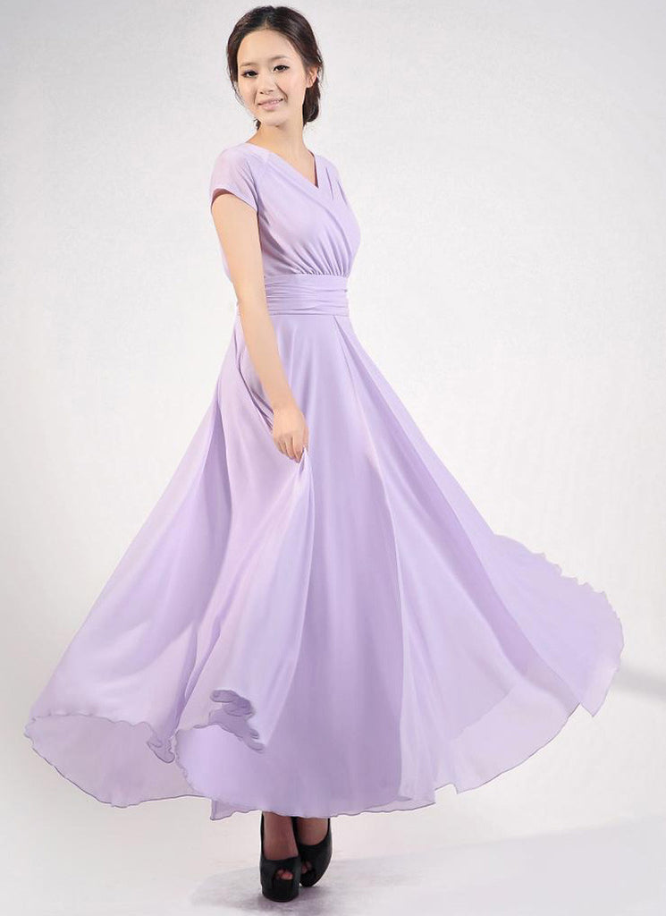 Cap Sleeve Violet Maxi Dress with V Neck & Ruched Waist Yoke RM157