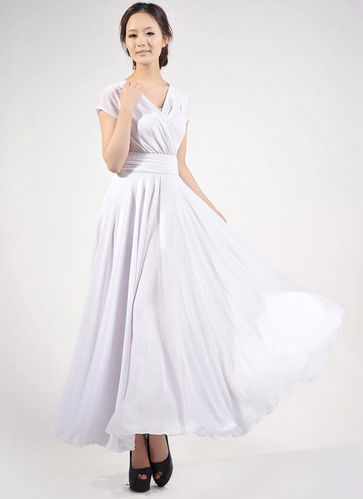 Cap Sleeve White Maxi Dress with V Neck & Ruched Waist Yoke