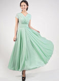 Cap Sleeve Mint Green Maxi Dress with V Neck & Ruched Waist Yoke