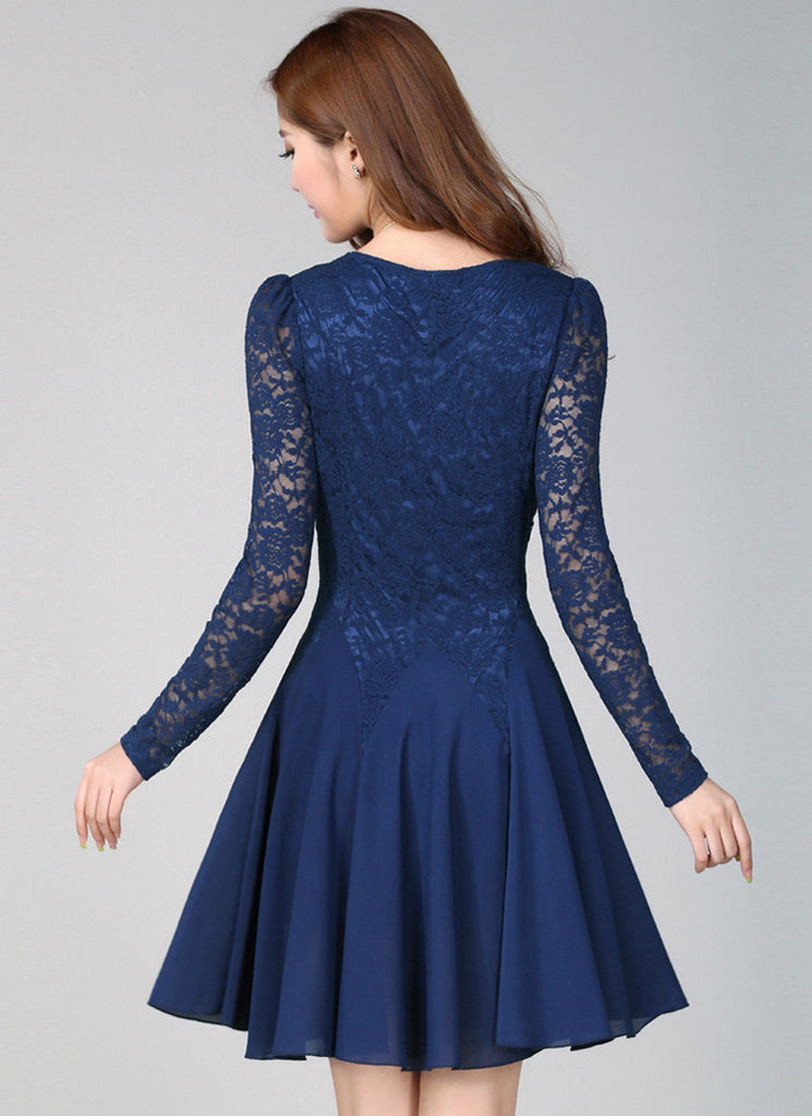 Blue Lace Fit And Flare Mini Dress With Long Sleeves R4