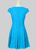 Cyan Lace Fit N Flare Mini Dress with Puff Cap Sleeves