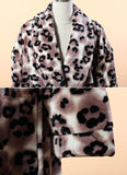 Extra Thick Micro Fiber Bathrobe - Leopard Print Soft Fleece Bathrobe 2
