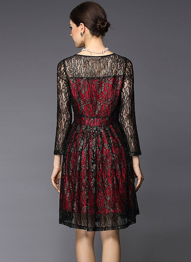 Gold Gilded Black Lace Fit and Flare Dress with Contrast Red Lining ... 8dde0680f