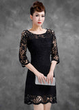 Half-sleeved Black Lace Sheath Dress with Scalloped Hem