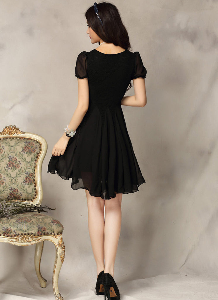 Black Lace Fit And Flare Mini Dress With Short Puff