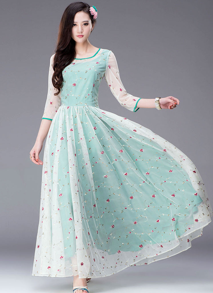 Floral Embroidered Turquoise Maxi Dress with 3 Quarter Sleeves