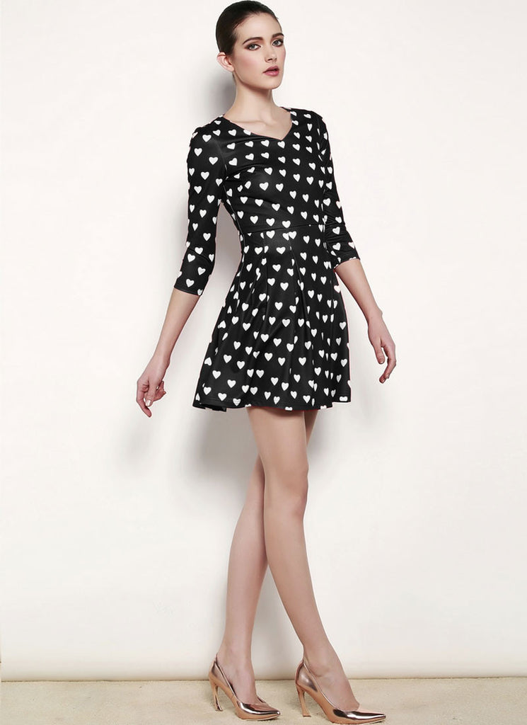 Heart Printed Black Chiffon Mini Fit and Flare Dress
