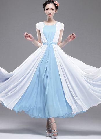 Blue Maxi Dress with White Asymmetric Overlay RM162