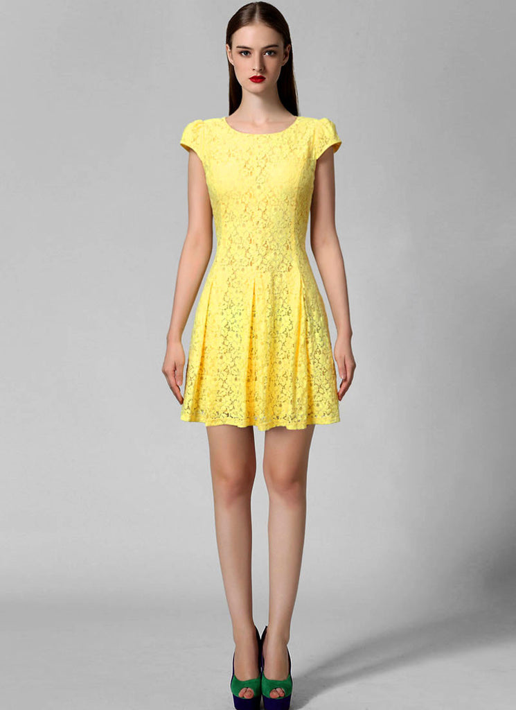 Yellow Lace Fit N Flare Mini Dress with Puff Cap Sleeves