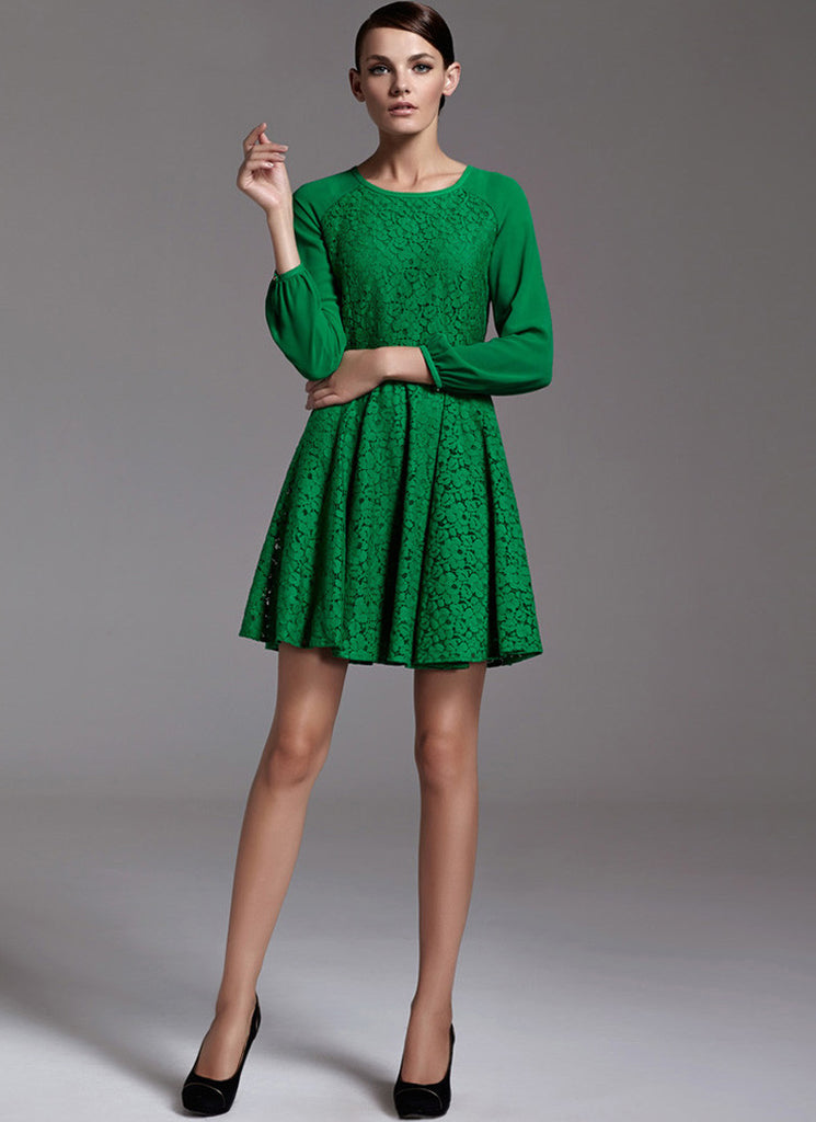 Green Lace Fit N Flare Mini Dress with Raglan Sleeves