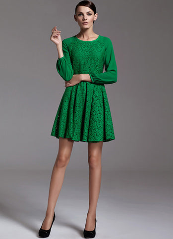 Green Lace Fit N Flare Mini Dress with Raglan Sleeves RD183